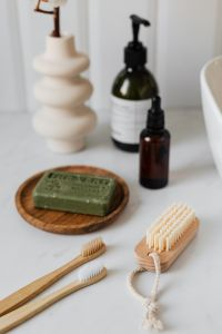 Kaboompics - Olive soap - wooden nail brush - bamboo toothbrushes