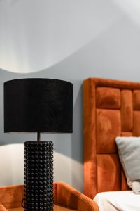Coloured furniture and black lamp - upholstered furniture