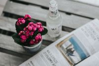 Kaboompics - Little pink flowers with a bottle of water and a magazine